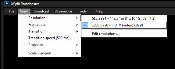 Resolution settings